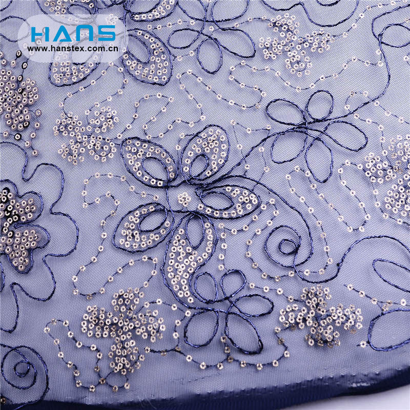 Hans Factory Price Yards Beaded Sequined Lace Fabric