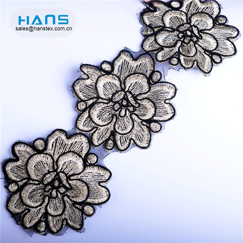 Hans Factory Wholesale Colorful Embroidery Black Lace